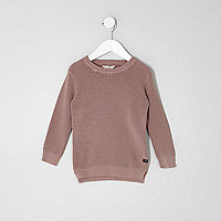 Mini boys pink washed waffle knit sweater