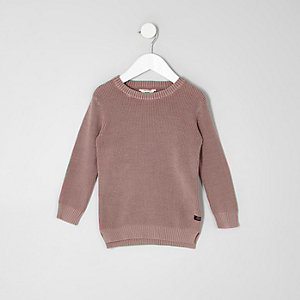 Mini boys pink washed waffle knit jumper
