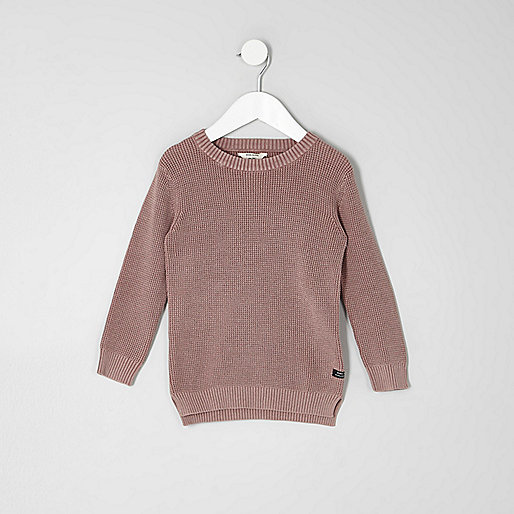 Mini boys pink washed waffle knit jumper