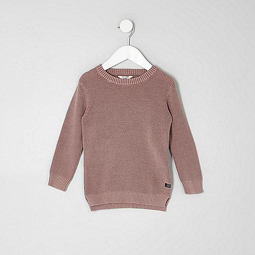 Mini boys pink washed waffle knit sweater