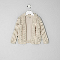 Mini boys cream cable knit cardigan