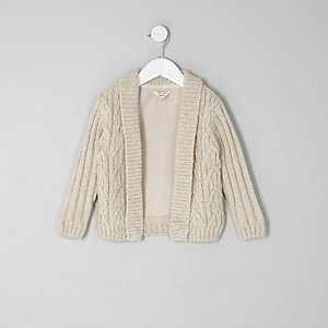 Mini boys cream cable knit cardigan