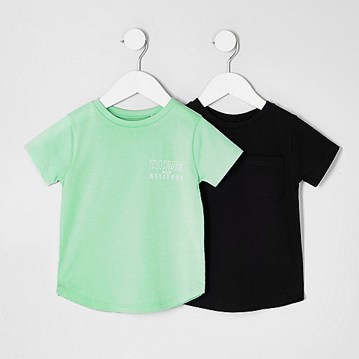 Mini boys black and green T-shirt multipack