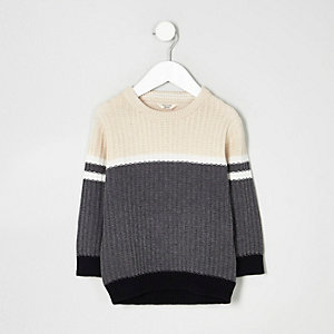 Mini boys grey ribbed colour block jumper