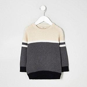 Mini - Grijze geribbelde pullover met kleurvlakken voor jongens