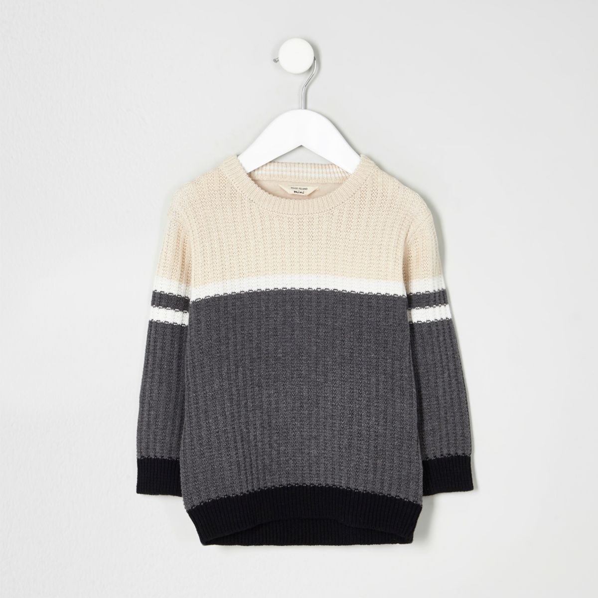 Mini boys grey ribbed colour block jumper