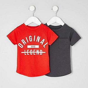 Mini - Multipack rood en grijs T-shirt voor jongens