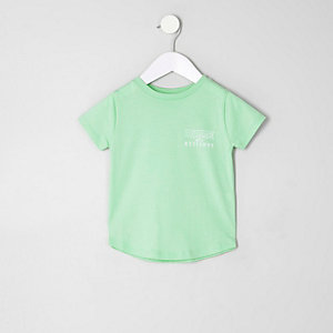 Mini boys lime green 'dudes' print T-shirt