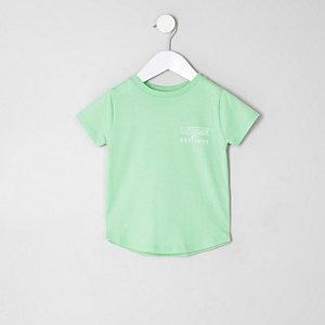 Mini - Limoengroen T-shirt met 'dudes'-print voor jongens