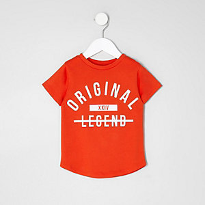 Mini boys red 'original' print T-shirt