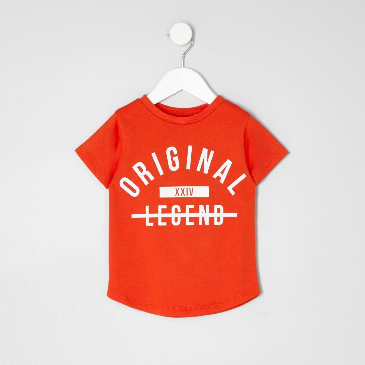 Mini boys red 'original' print T-shirt