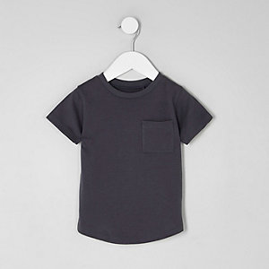 Mini boys grey curved hem pocket T-shirt