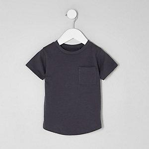 T-shirt gris à ourlet arrondi et poche pour mini garçon
