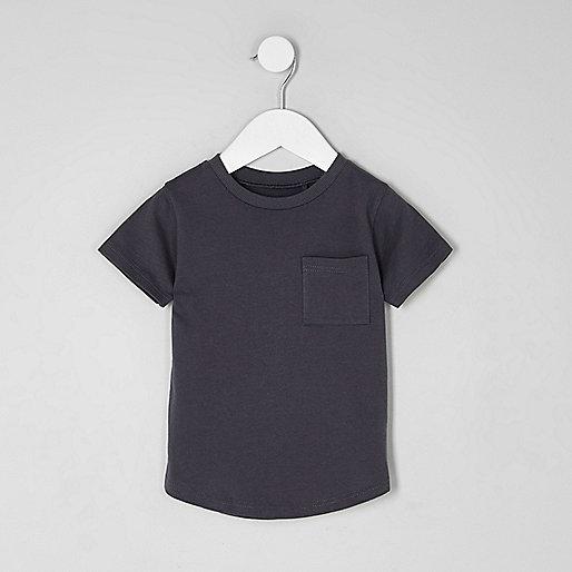 Mini boys grey curved hem pocket T-shirt