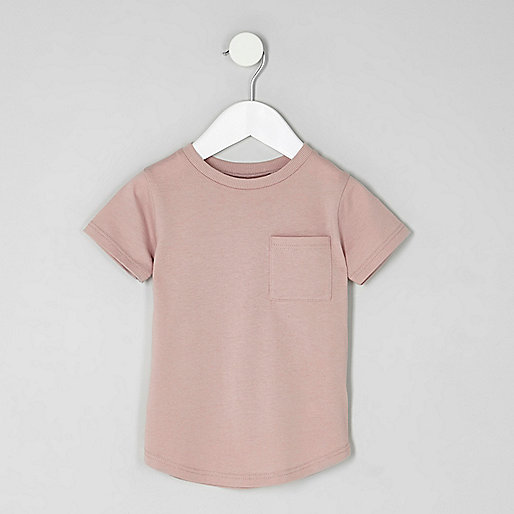 Mini boys pink curved hem pocket T-shirt