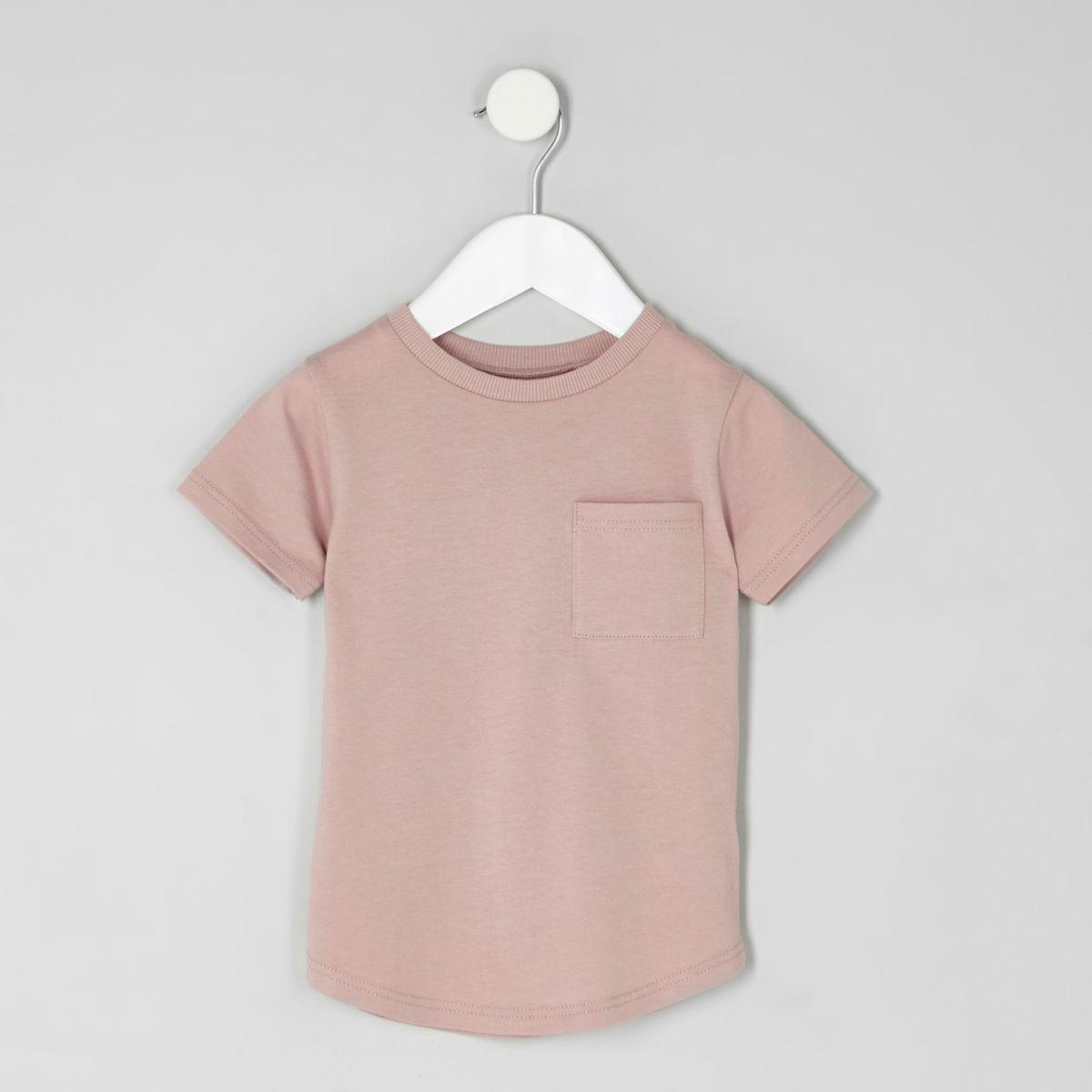 Mini boys pink curved hem pocket T-shirt