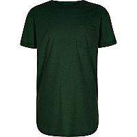 Boys green curved hem T-shirt