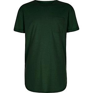 Groen T-shirt met ronde zoom voor jongens