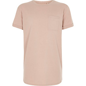 Boys light pink curved hem T-shirt