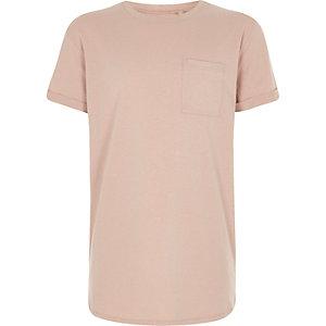 Lichtroze T-shirt met ronde zoom voor jongens