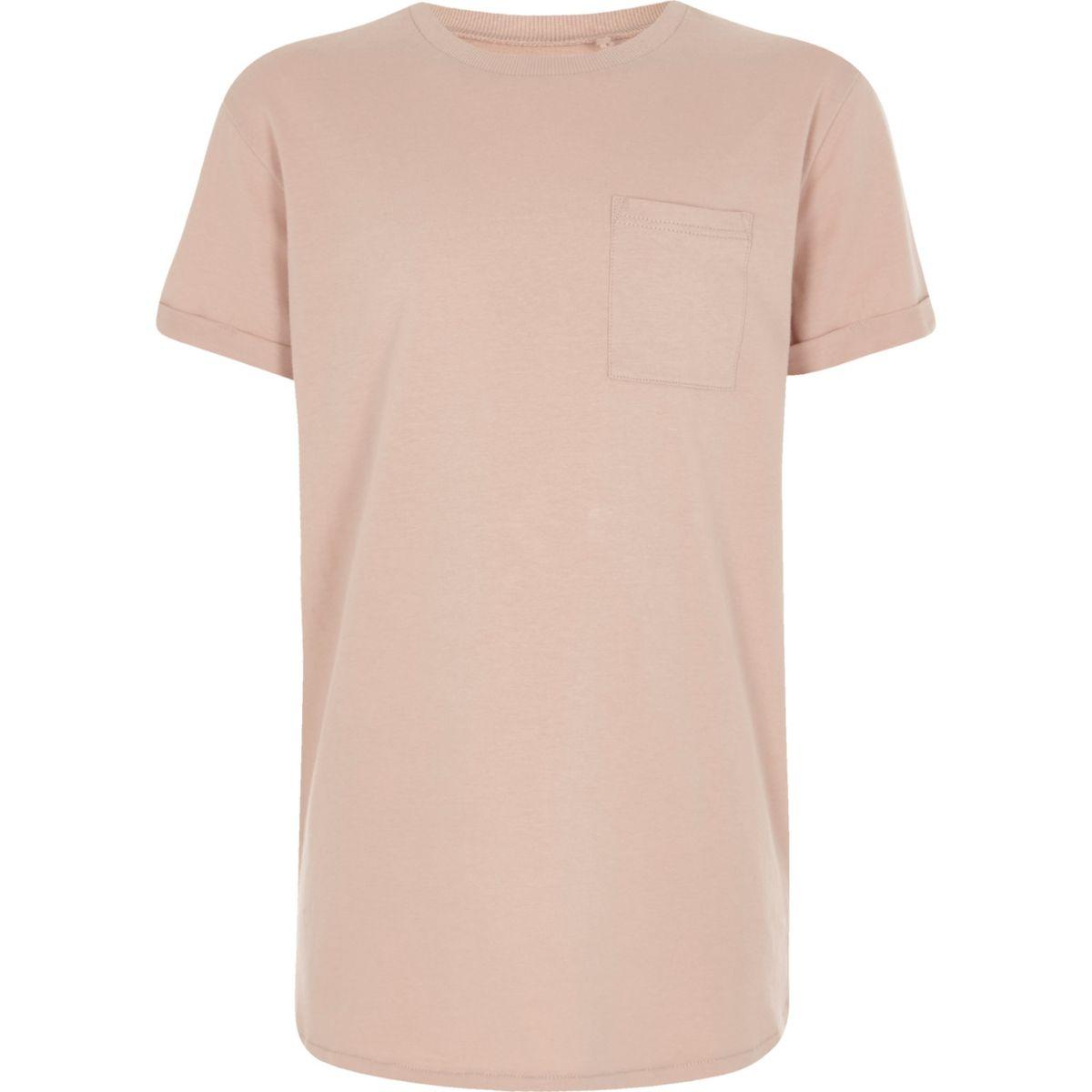 Boys light pink curved hem T-shirt