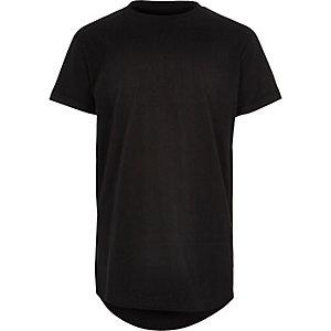 Boys black 'Bronx' print curved hem T-shirt