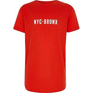 Rood T-shirt met 'NYC-Bronx'-print en ronde zoom voor jongens