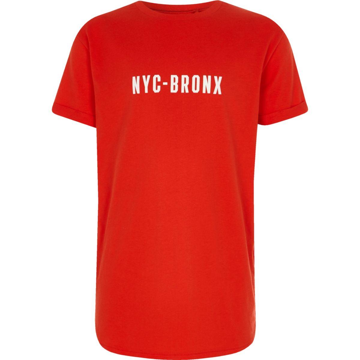 Boys red 'NYC-Bronx' print curved hem T-shirt