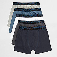 Boys grey and blue boxers multipack