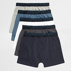 Multipack grijze en blauwe boxershort voor jongens