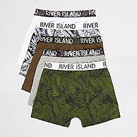 Boys blue leaf print boxers multipack