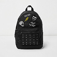 Boys black badge stud pocket backpack