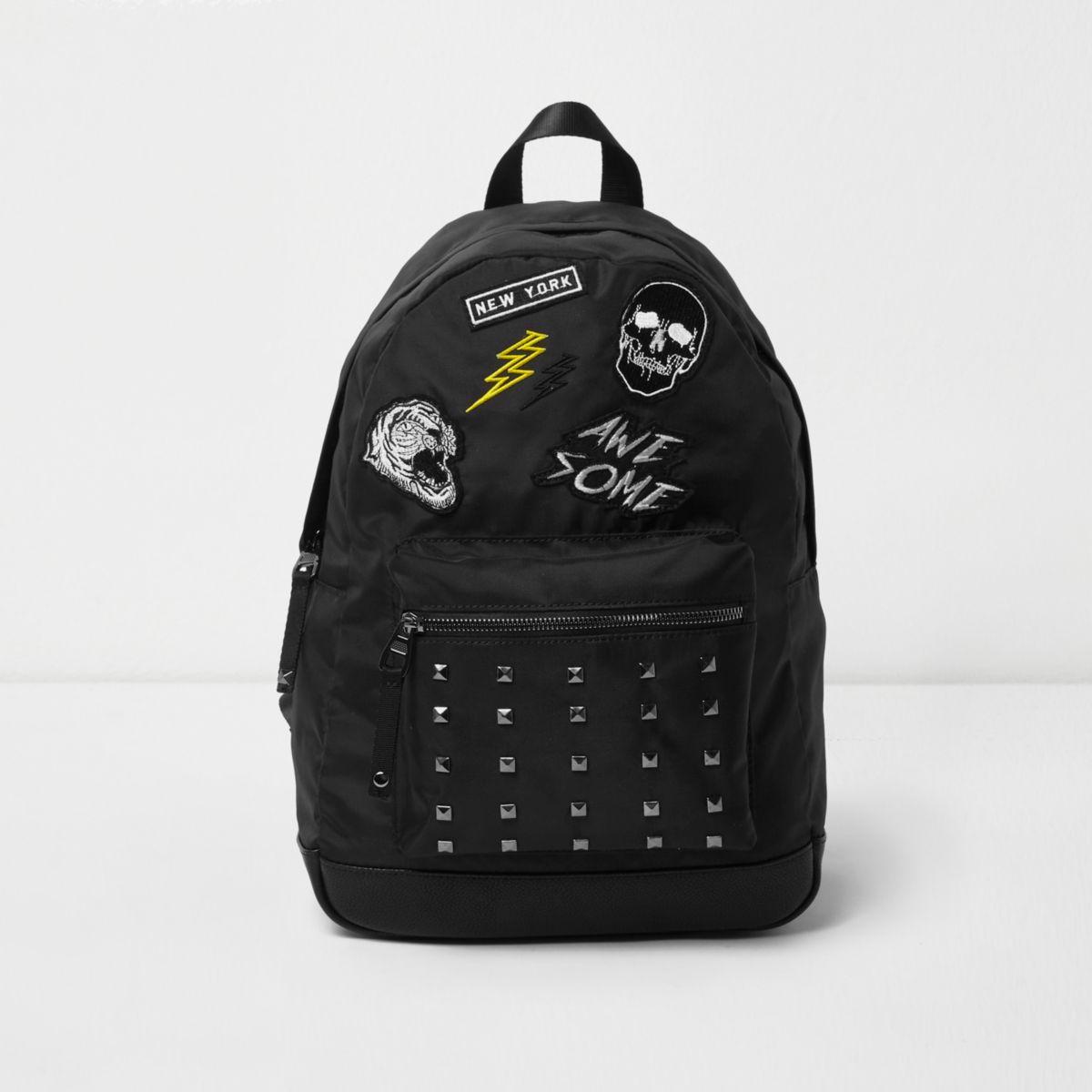 Boys black badge stud pocket backpack
