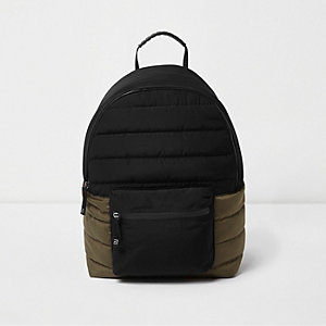 Boys black and khaki block quilted backpack