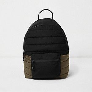 Gesteppter Rucksack in Schwarz und Khaki