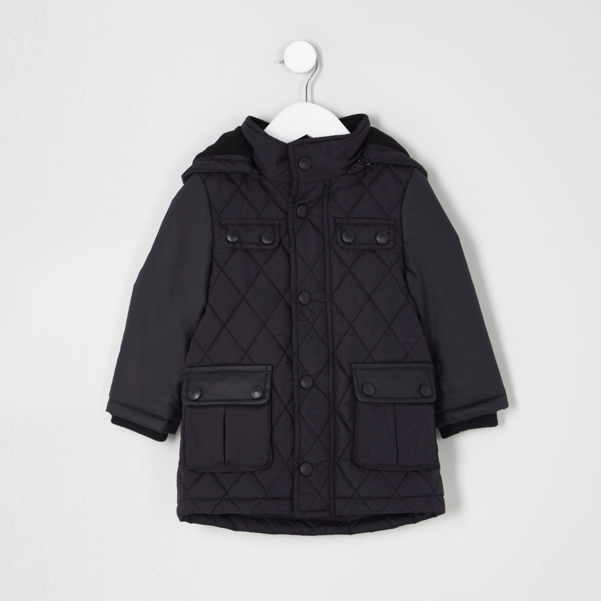 Mini boys navy quilted jacket