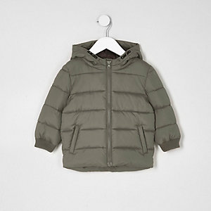 Mini boys khaki hooded puffer coat