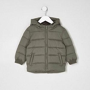 Mini - Kaki gewatteerde jas met capuchon voor jongens