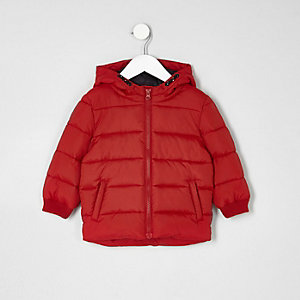 Mini boys red puffer coat