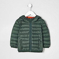 Mini boys green lightweight puffer jacket
