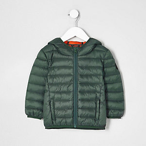 Mini boys green lightweight puffer jacket