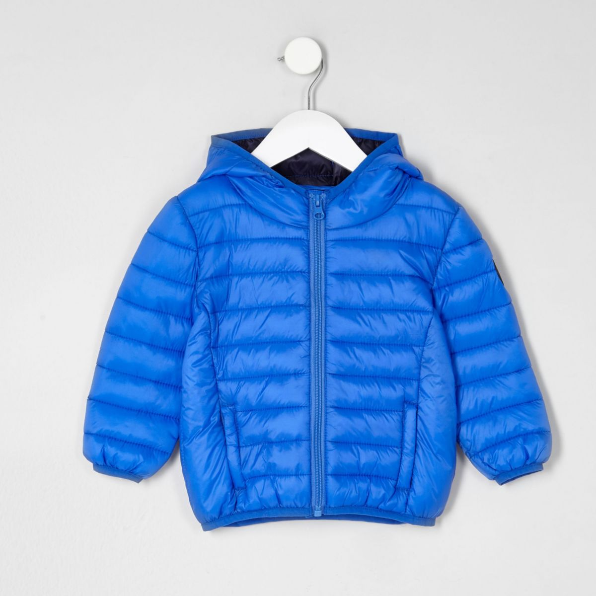 Mini boys blue puffer coat