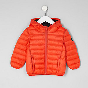 Mini boys orange lightweight puffer jacket