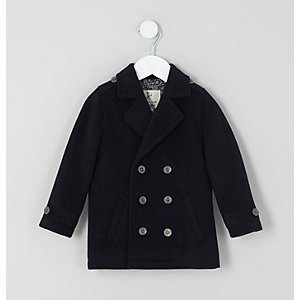 Mini boys navy double breasted peacoat