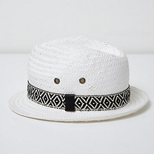 Mini boys white aztec trim straw trilby hat