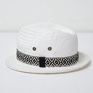 Chapeau de paille blanc avec gallon imprimé aztèque mini garçon