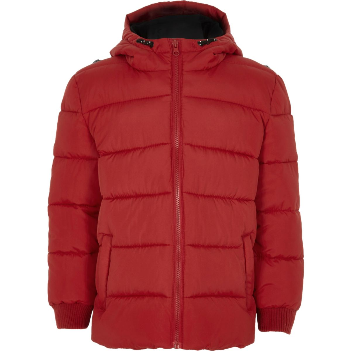 Comfortable red padded puffer coat for little boys by Mayoral, with stylish black and white striped trim. It has a concealed zip fastening down the front, with branded buttons and loops. With a useful detachable hood, side pockets, and a super soft fleecy lining to keep him snug and warm.