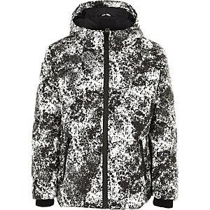 Grijs reflecterend gewatteerd jack met camouflageprint voor jongens