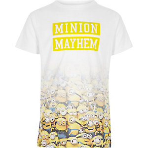 Boys white 'minion mayhem' fade print T-shirt