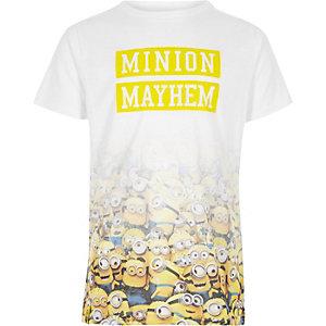 Wit T-shirt met vervagende 'Minion Mayhem'-print